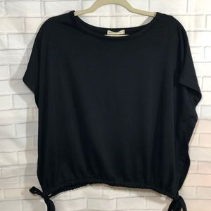 Pebble & stone black sweatshirt tie top Anthro
